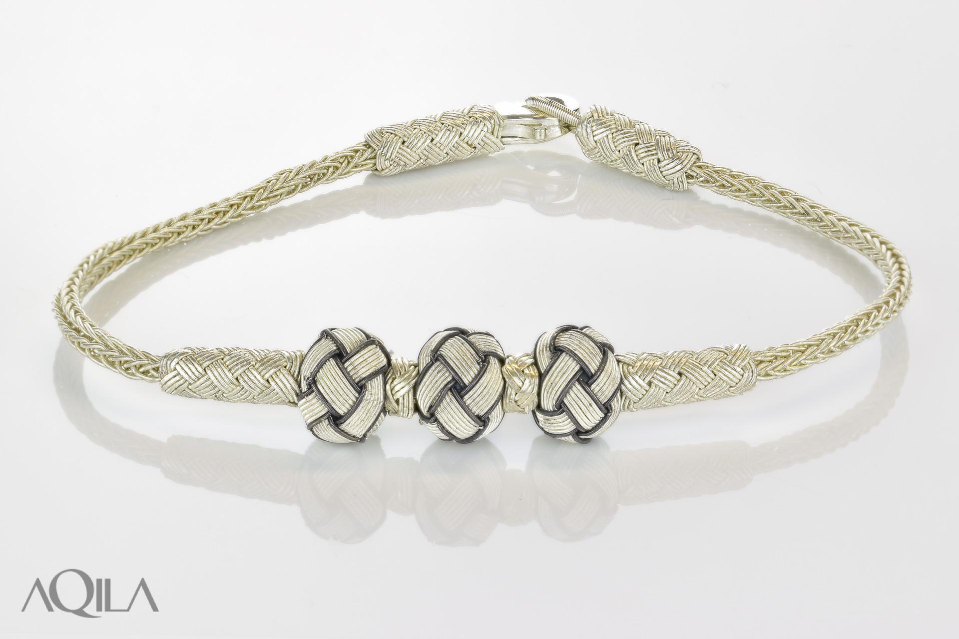 999 Silber Kordel Armband mit 3 Knotenperlen, Freundschaftsband, Kazaziye,  10525 a37f04eec7