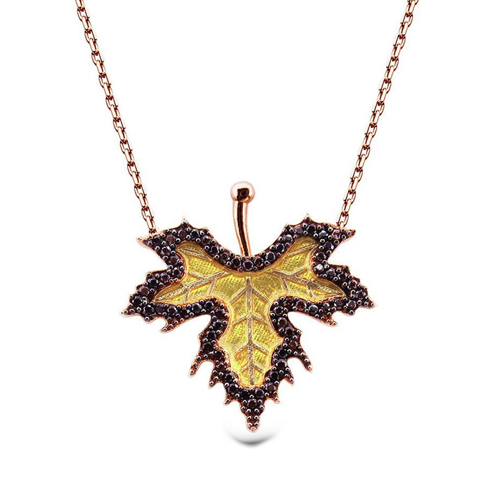 aqila aqila damen halskette kette ahorn blatt zirkonia 925 silber rosegold silber echt. Black Bedroom Furniture Sets. Home Design Ideas