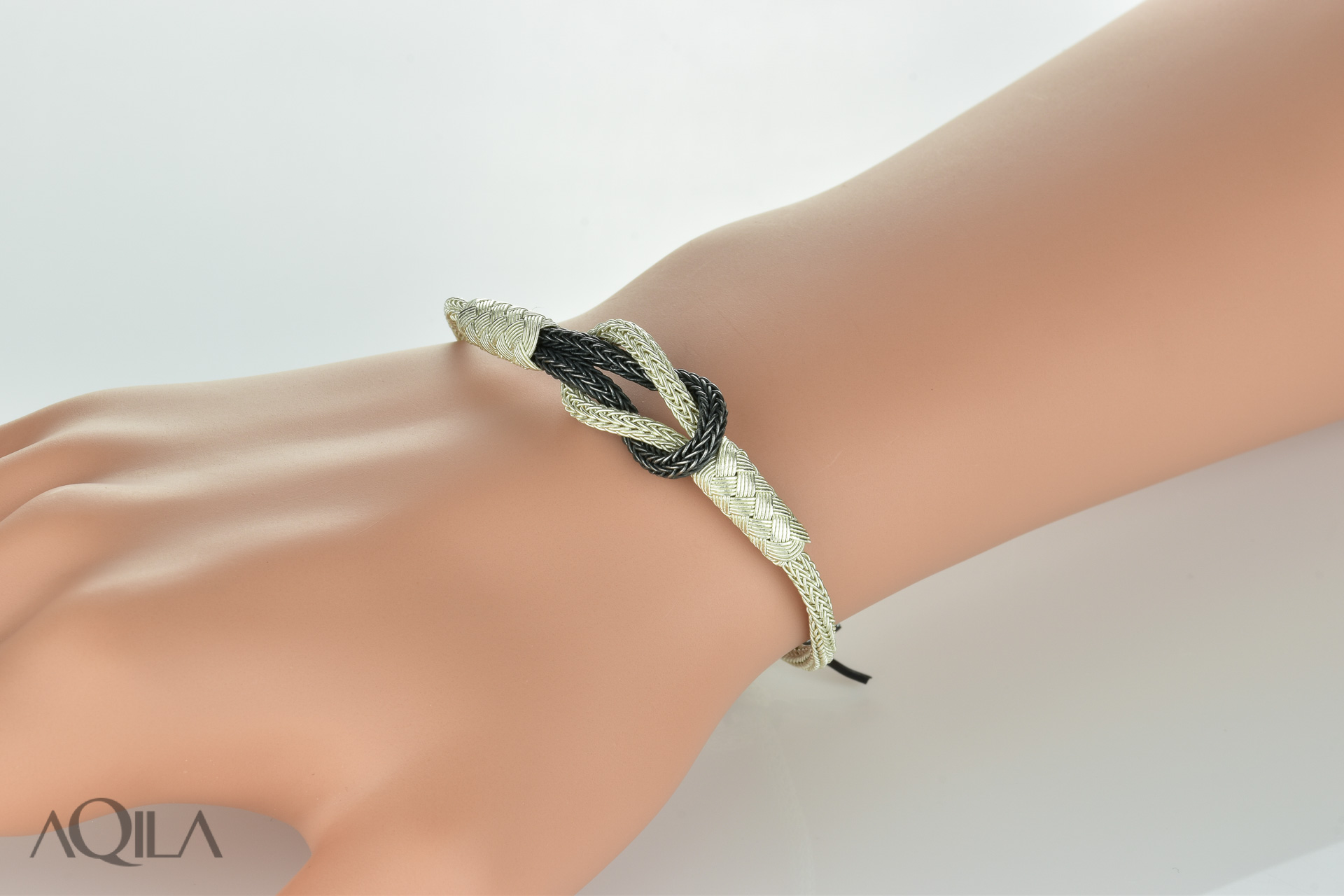 999 Silber Kordel Armband mit Herkulesknoten, Liebesknoten, zweifarbig,  10534 7a3b07d963